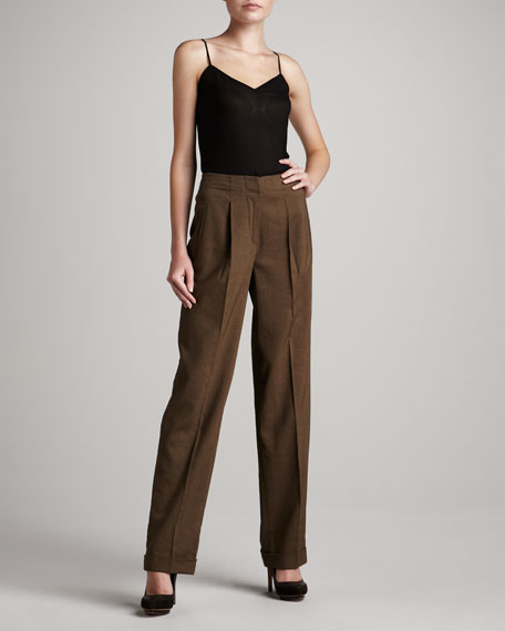 Wide-Leg Linen-Blend Trousers