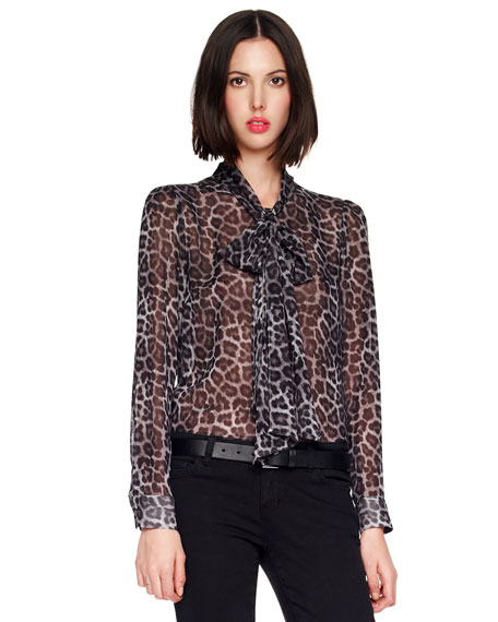 Printed Tie-Neck Blouse