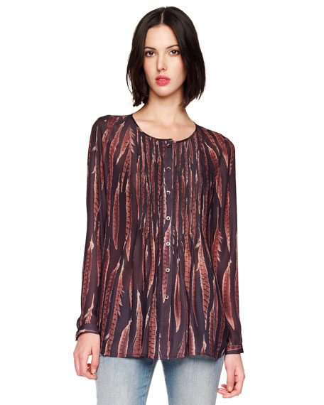 Feather-Print Blouse