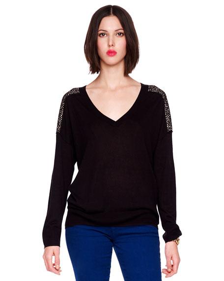 Stud-Shoulder Pullover Sweater