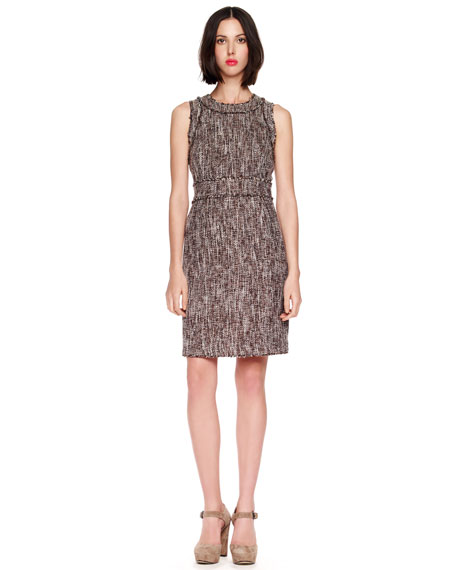 Fringe-Trim Tweed Dress
