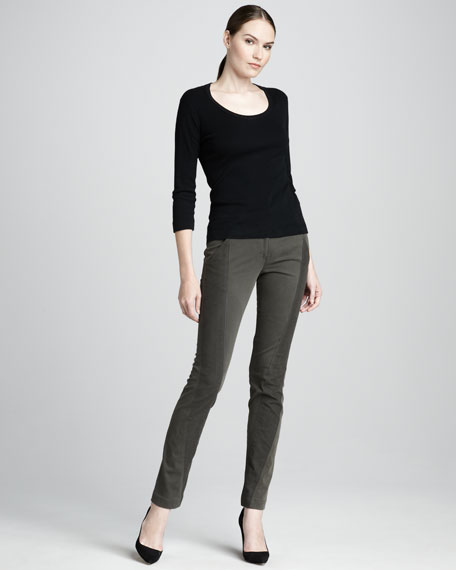 Slim Paneled Pants, Dark Mineral