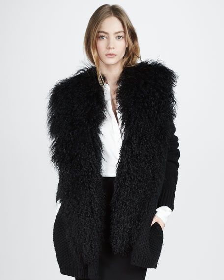 Fur-Trim Cardigan