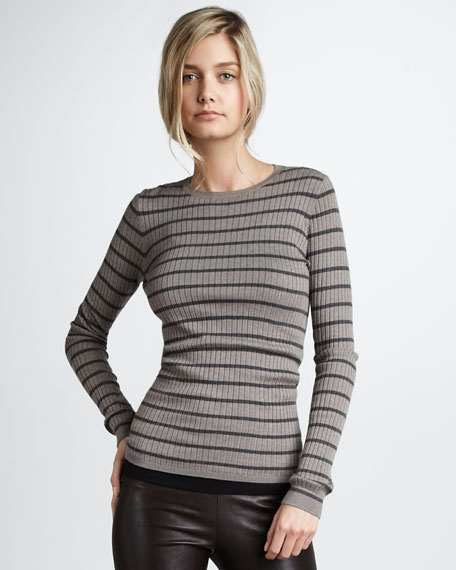 Striped Rib-Knit Sweater