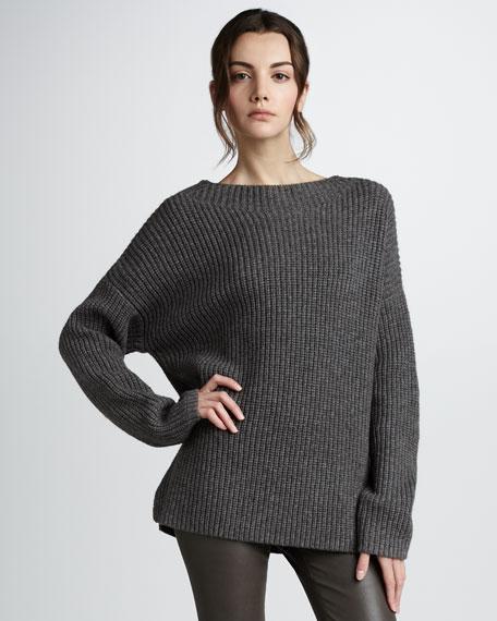 Shaker-Knit Crewneck Sweater