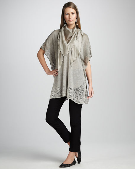 Cutout-Trim Knit Tunic, Petite