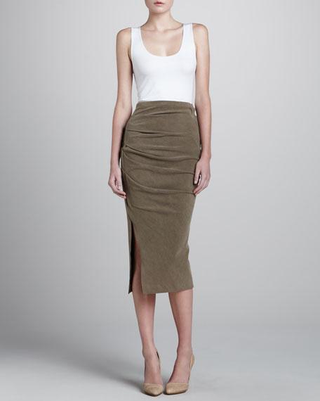 Tea-Length Crushed Velvet Skirt