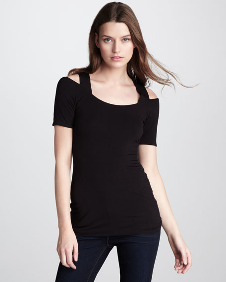 The World's a Stage Shoulder-Cutout Top