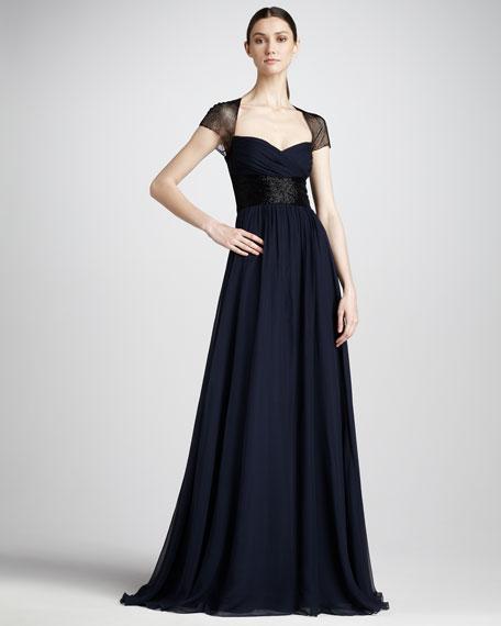 Bead-Sleeve Chiffon Gown