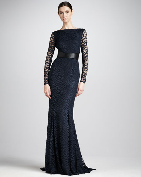 Swirly-Lace Fitted Gown
