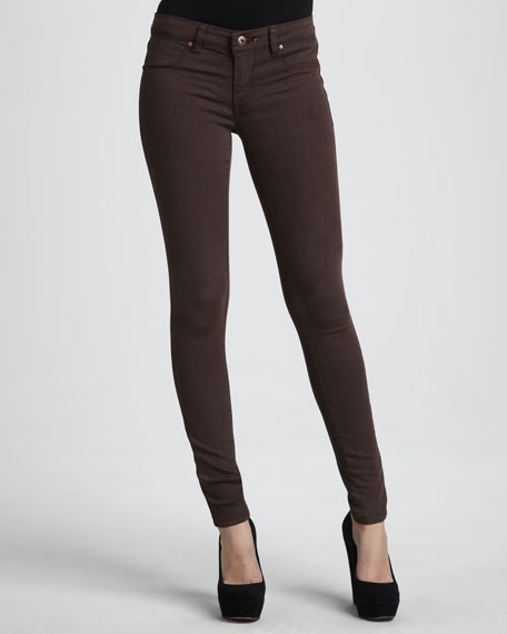 Spray-On Skinny Jeans, Brown