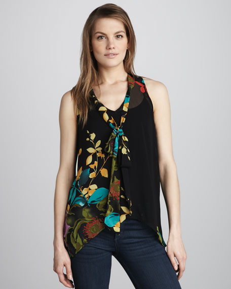 Hunter Sleeveless Tie-Neck Blouse