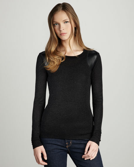 Leather-Patch Top