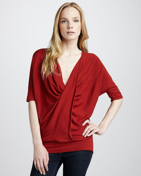 Drape-Front Top, Red