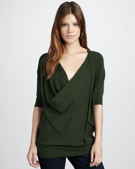 Drape-Front Top, Green
