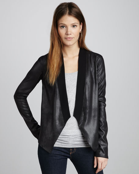 Ponte-Back Faux-Leather Jacket