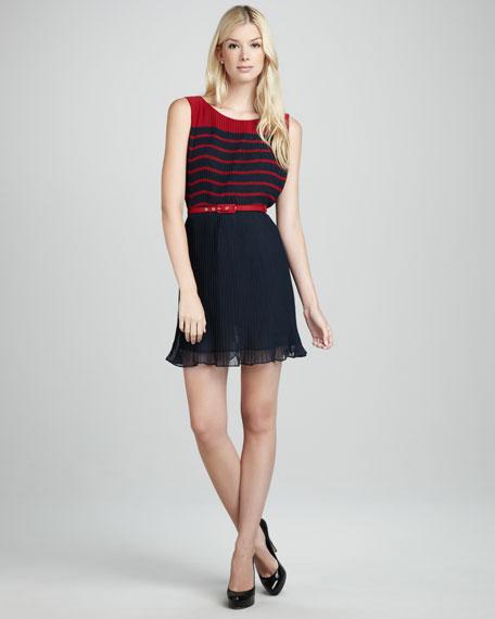 Belted Plisse Dress