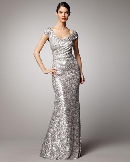 Scoop-Neck Sequin Gown