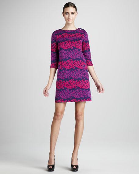 Navy-Print Dress