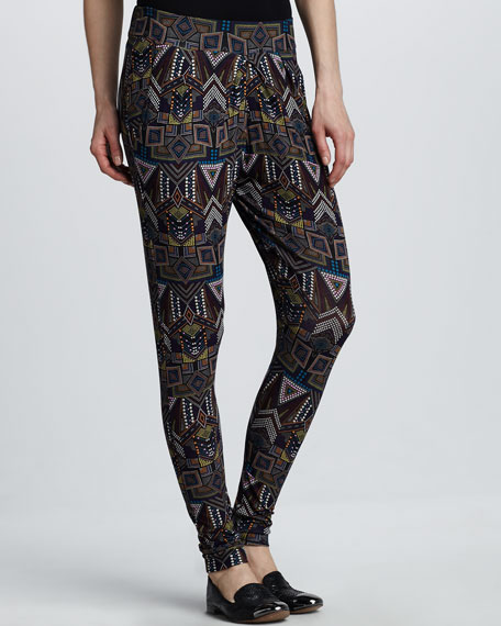 Printed Pleated Skinny Pants