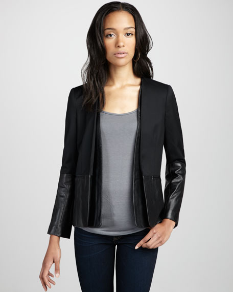Leather Combo Boyfriend Jacket