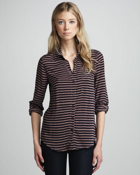 Striped Knit Button-Down