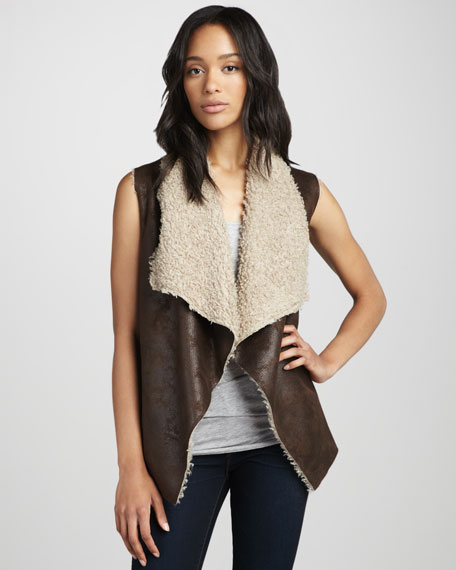 Faux-Suede & Faux-Fur Vest