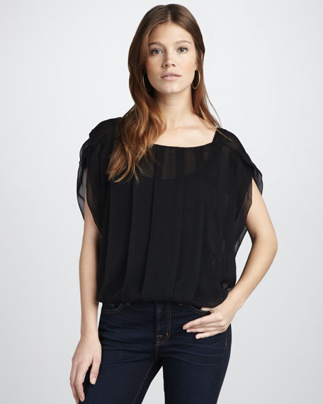 Pleated Sheer Top
