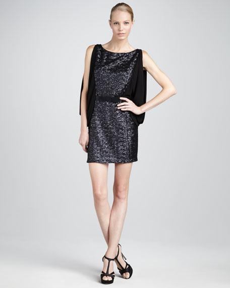 Sequined Drape-Sleeve Dress