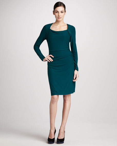 Ruched Scoop-Neck Dress