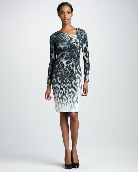 Ruched Animal-Print Dress