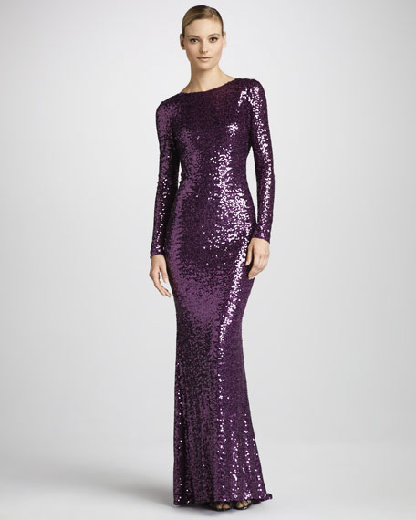 Sequined Cowl-Back Gown
