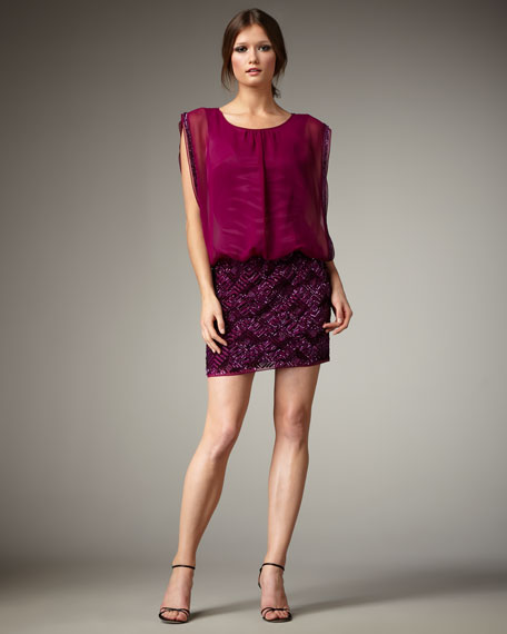 Square Drop-Waist Dress, Deep Mulberry