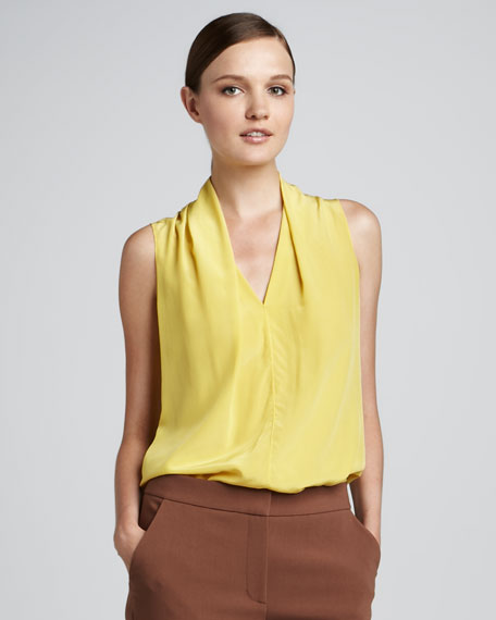 V-Neck Drape Shell, Citrine