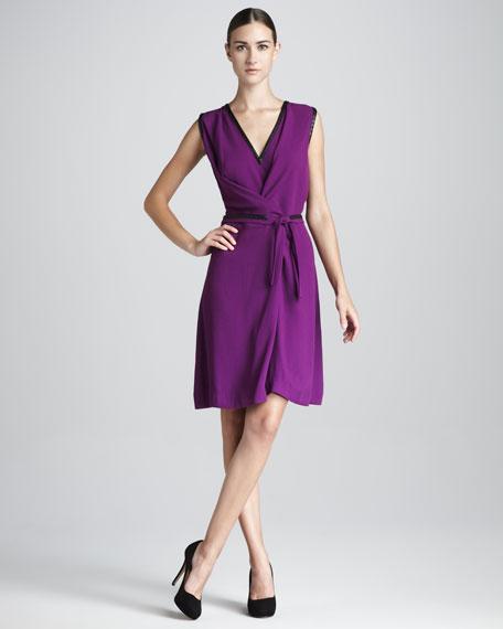 Crepe V-Neck Wrap Dress