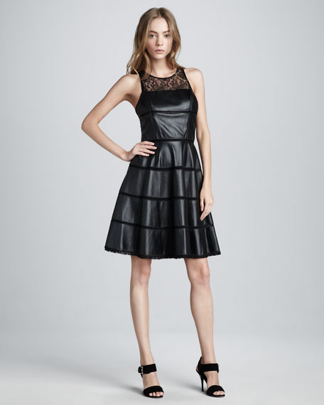Ella Leather & Lace Dress
