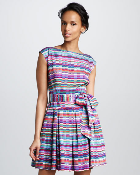Alana Striped Silk Dress