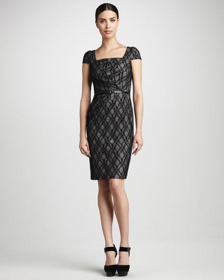 Lace/Plaid Square-Neck Dress