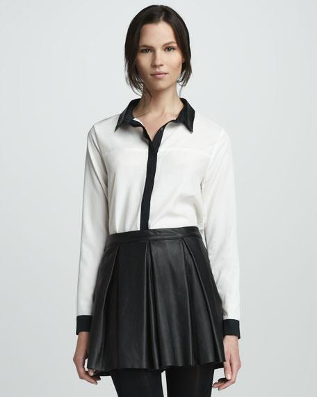 Tartan Pleated Leather Skirt