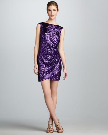 Ruched Low-Back Sequined Dress