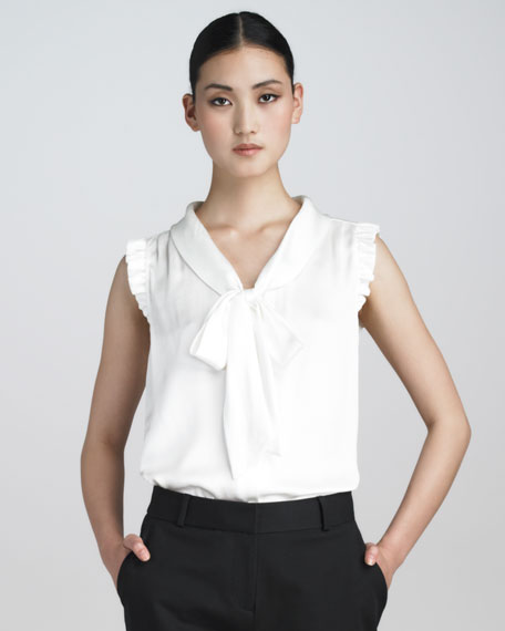 morgan bow-neck silk blouse