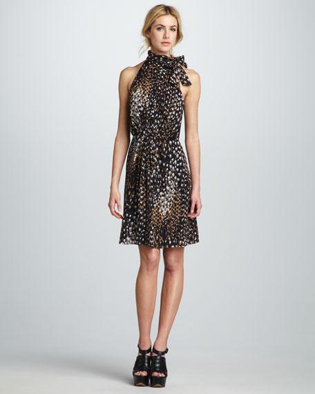 Tie-Neck Leopard-Print Dress