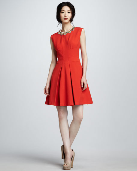 Bead-Neck Sleeveless Dress