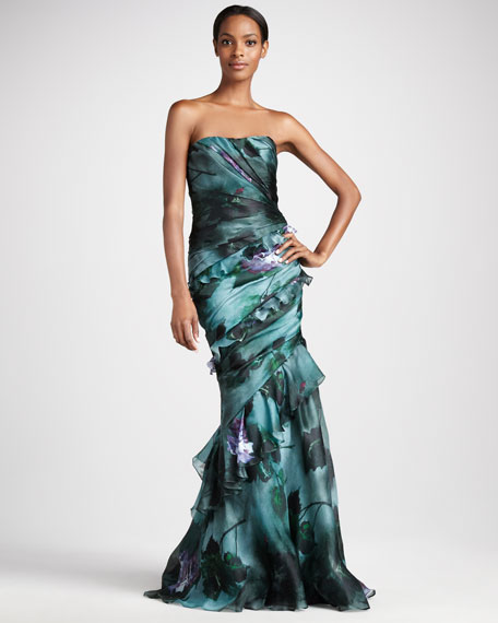 Printed Ruffled Strapless Gown
