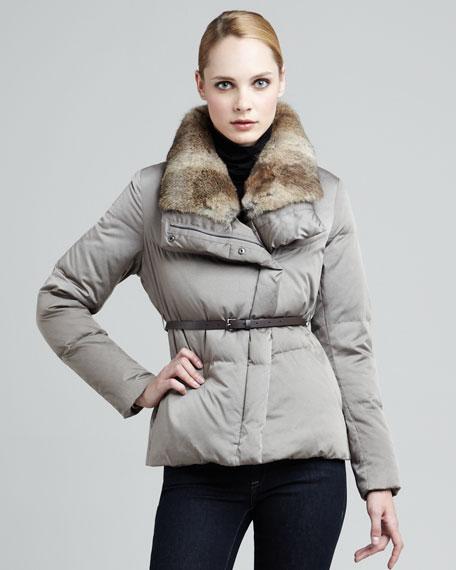 Lhasa Fur-Trim Puffer Coat