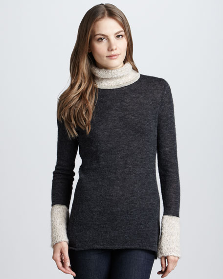 Angelina Boucle-Trim Turtleneck, Evening