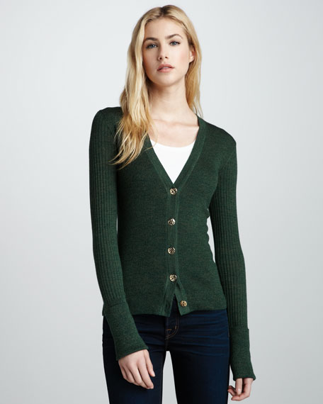 Shrunken Simone Cardigan, Malachite Mouline