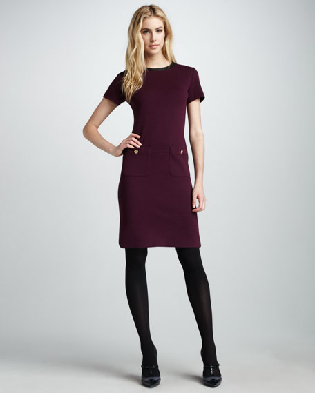 Wool-Trim Dress, Plum