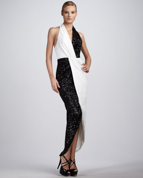 Sequined Colorblock Gown