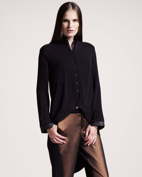 Faux-Leather-Trim Tail Shirt